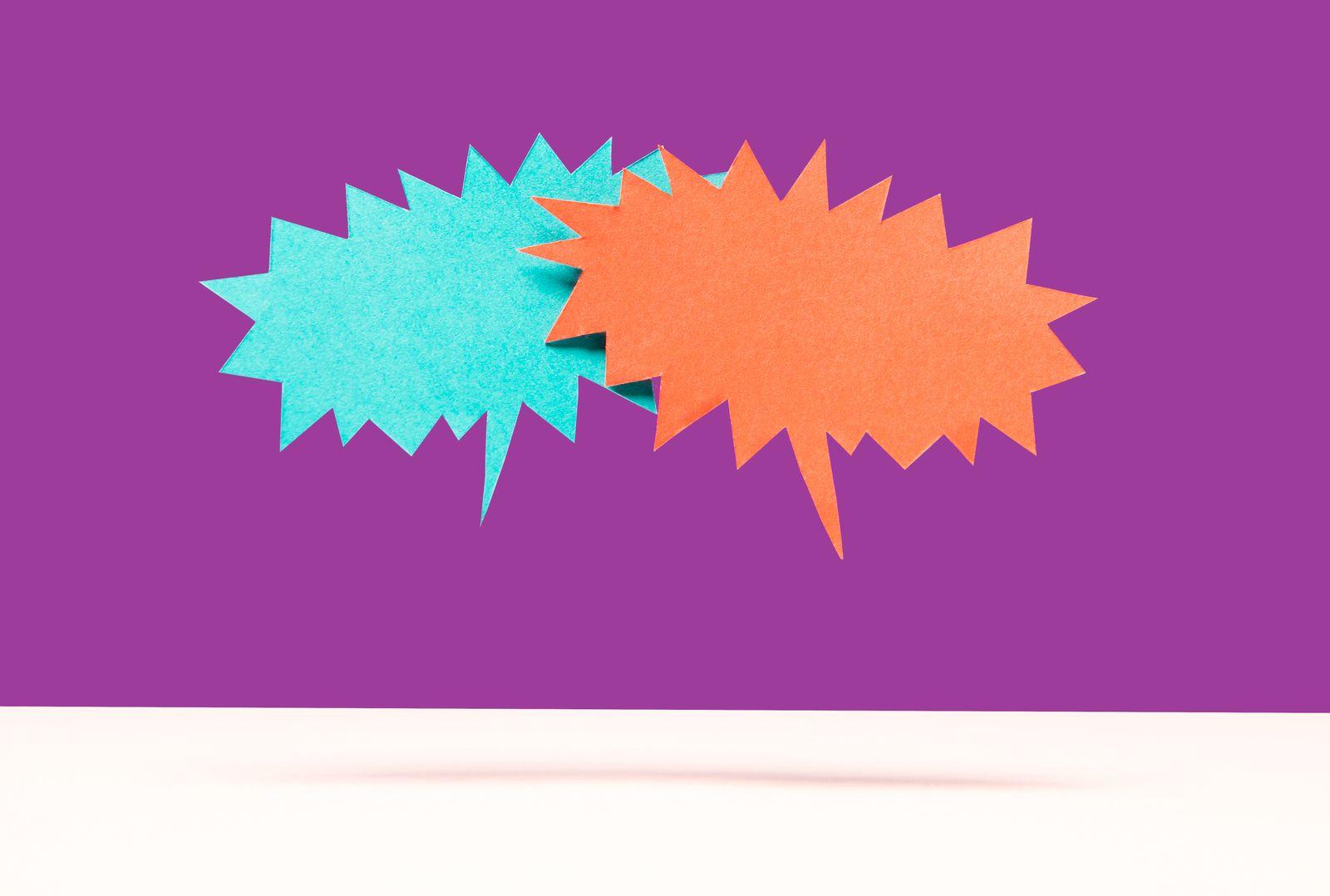 Speech bubble confrontation
