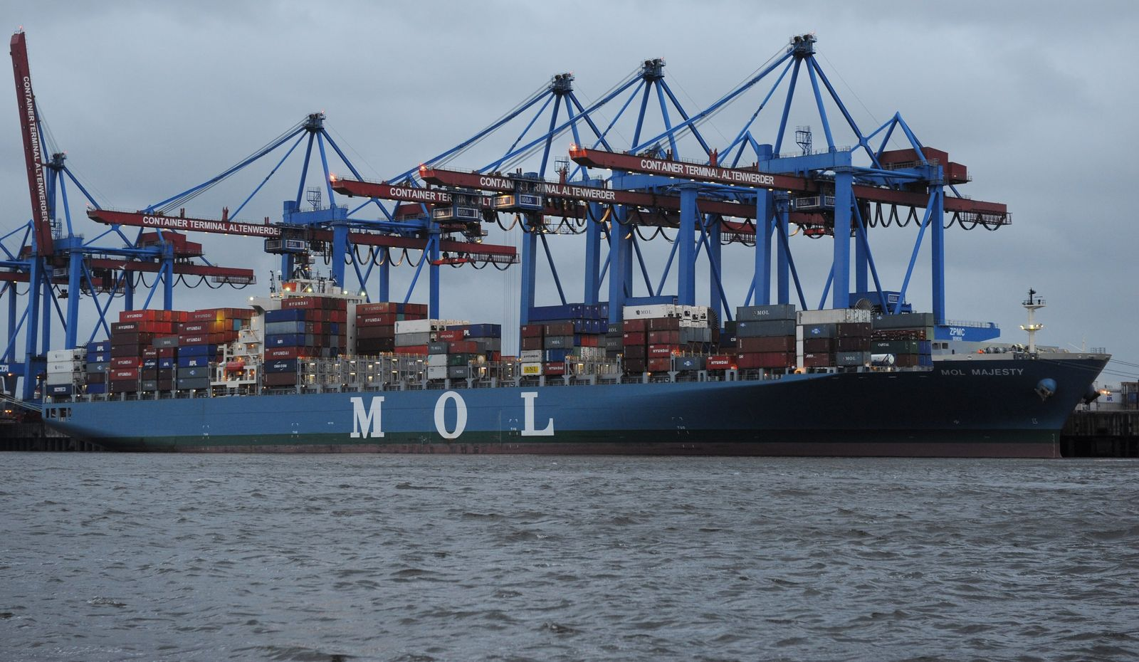 Erstes Schiff aus Japan in Hamburg / MOL Majesty