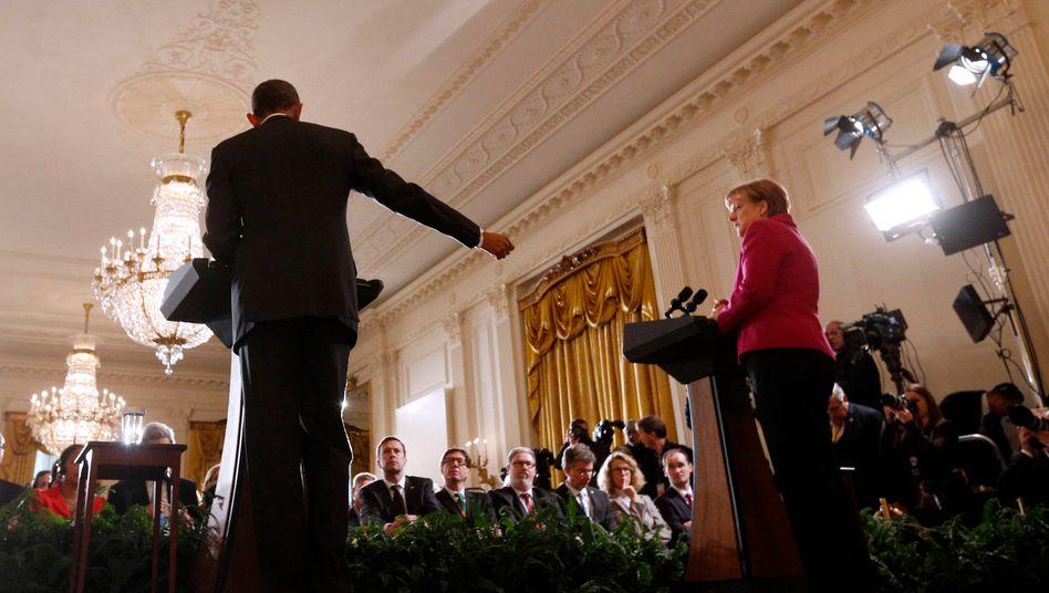 """Merkel (mit Obama auf der gemeinsamen Pressekonferenz): """"Es wird ein sehr langer Prozess"""""""
