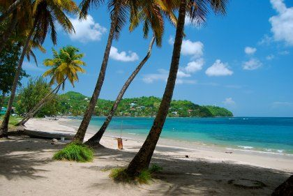 Azurblaues Wasser, hohe Palmen: Der Strand von Laborie bietet das, was viele Karibik-Touristen suchen.