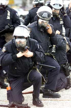 """""""Don't mess with NYPD"""": Aufmarsch der Polizisten im Baseball-Stadion"""