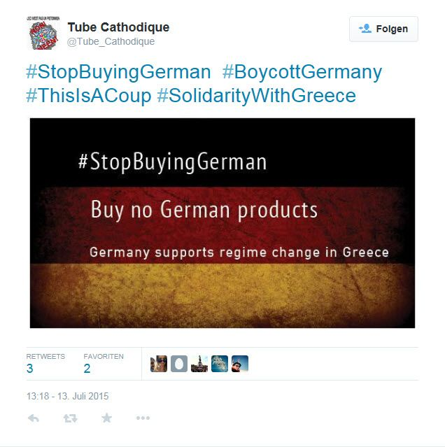 SCREENSHOT Griechenland; Stop buying German Products; Twitter
