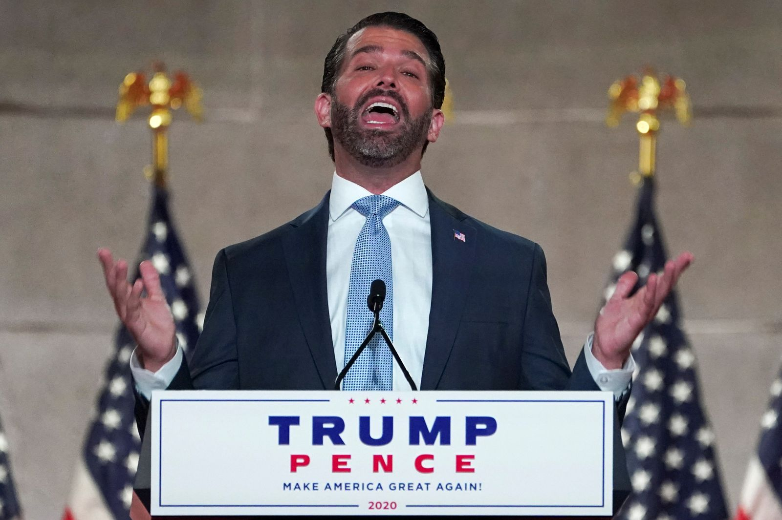 Donald Trump Jr. gives a pre-recorded speech to the largely virtual Republican National Convention from Washington