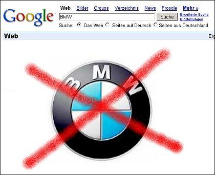 Vorerst gestrichen: Die Hauptseiten von BMW finden sich bei Google derzeit ganz, ganz weit hinten im Verzeichnis