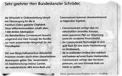 """""""Sehr geehrter Herr Bundeskanzler"""" Offener Brief der lokalen Wirtschaft an Gerhard Schröder"""