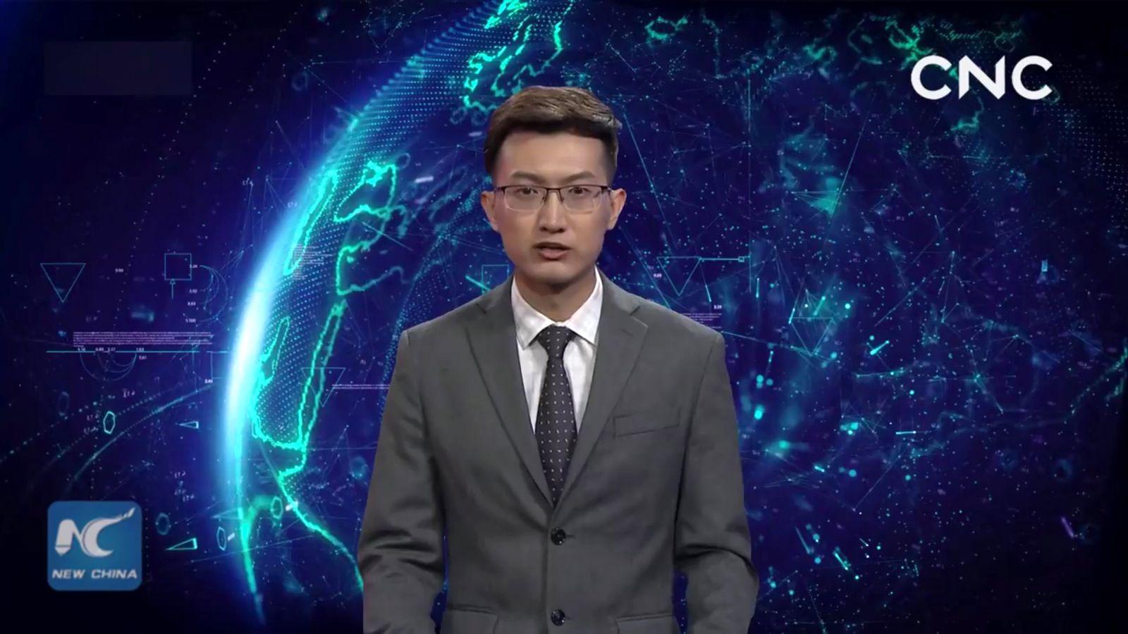 NUR ALS ZITAT Screenshot Xinhua/ KI-Nachrichtensprecher