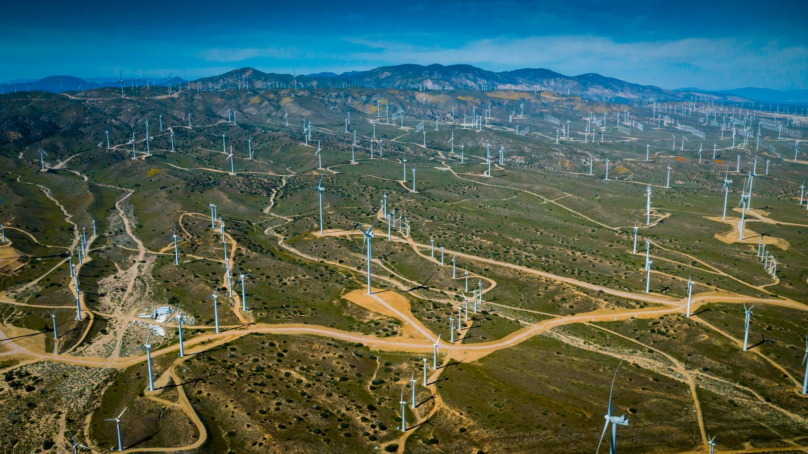 Alta Wind, Windmills produce renewable energy in Mojave Desert outside of Lancaster, California