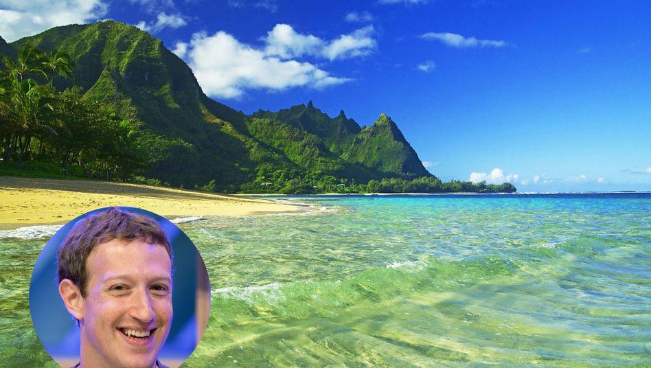 Bei Hawaii hört der Spaß auf: Strand auf der Insel Kauai, wo Zuckerberg Großgrundbesitzer ist.