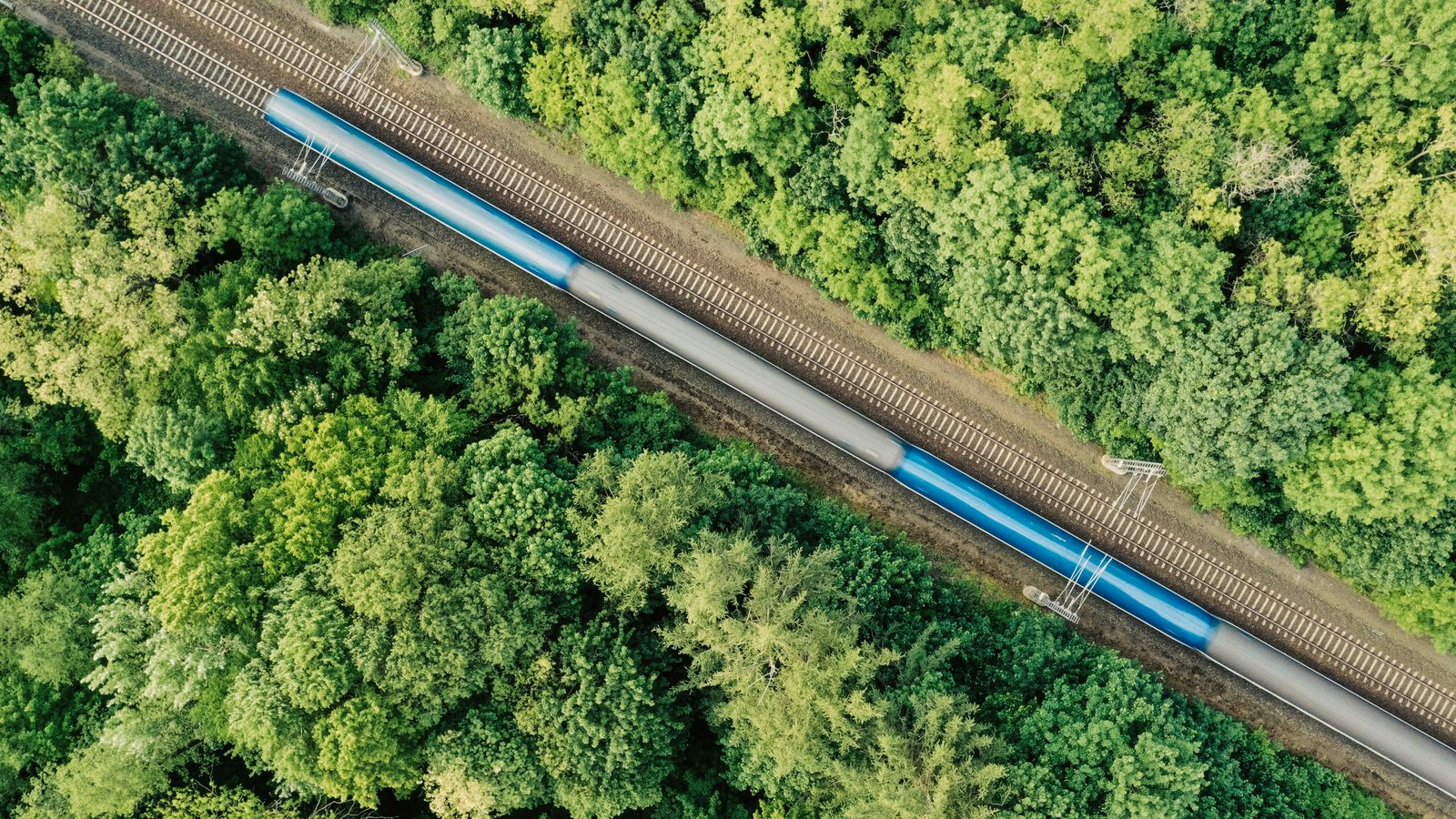 Aerial view of a train driving through a forest. Double track, near Prague, Czech Republic.