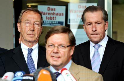 Der Sanierer geht: Bevollmächtigter Piepenburg (M.), Insolvenzverwalter Görg (l.), Unternehmenschef Eick