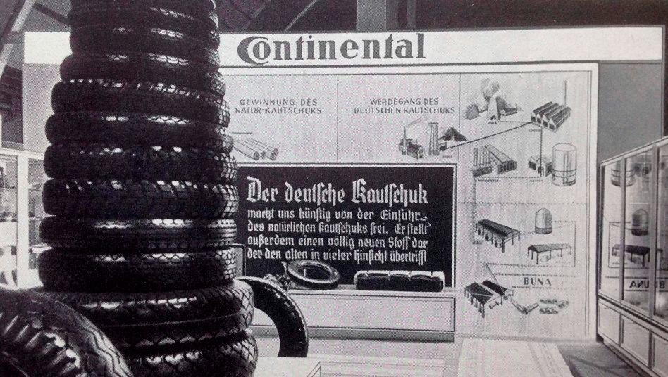 Messestand von Continental 1937 - Synthetikkautschuk Buna als Beitrag zur Kriegsstrategie der Nazis (Auszug aus der Untersuchung zur Konzerngeschichte)