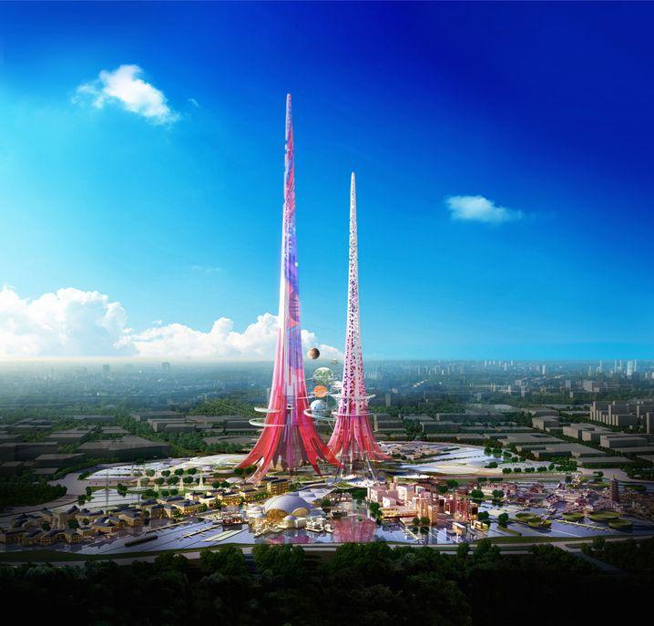 Auf dem 47 Hektar großen Gelände sollen die 1000 Meter hohen Zwillingstürme entstehen