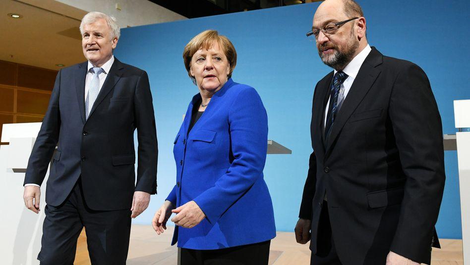 """Seehofer, Merkel und Schulz: """"Ein Papier des Gebens und Nehmens"""""""