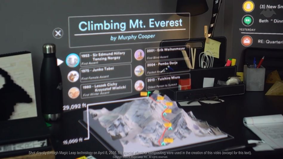 Screenshot aus einer Magic-Leap-Präsentation: Sieht so die virtuelle Zukunft aus?