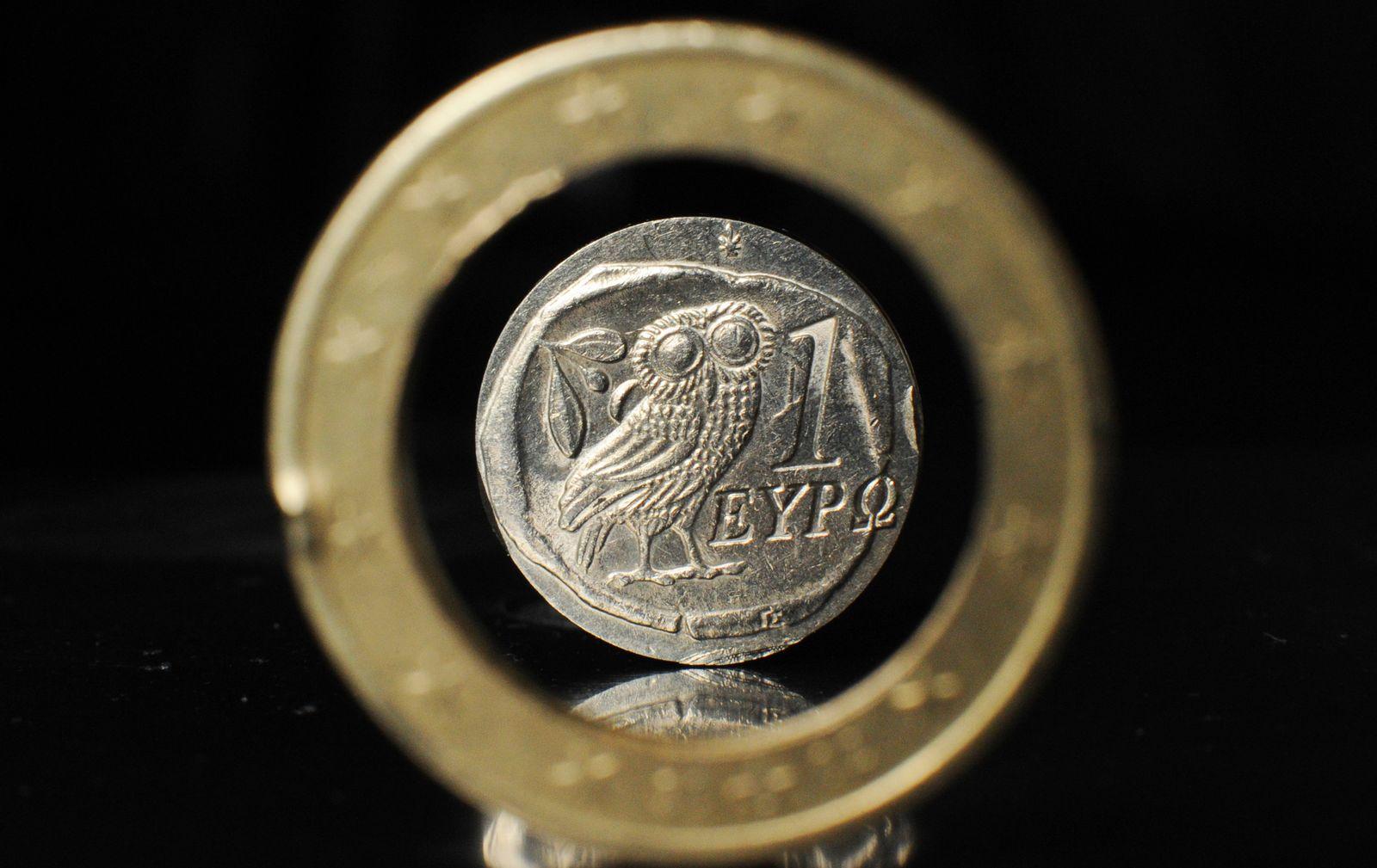 Zerbrochene griechische Euro-Münze