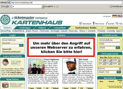 Webserver angegriffen: Kartenhaus informiert die Kunden auf der Homepage über die Hacking-Attacke