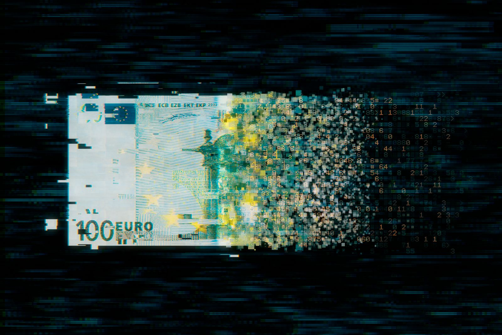 Pixelated european union currency on dark background