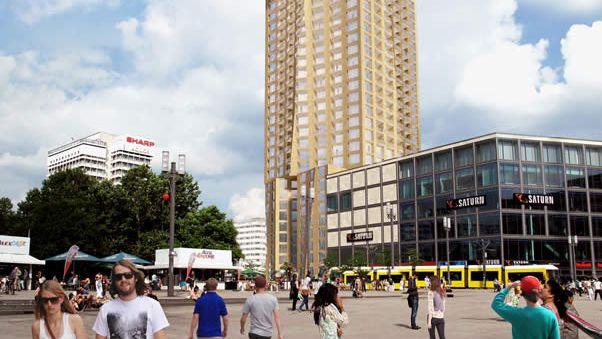 Neues Wahrzeichen: 150 Meter soll der Hines-Tower mit dem Grundriss eines vierblättrigen Kleeblatts in den Berliner Himmel ragen