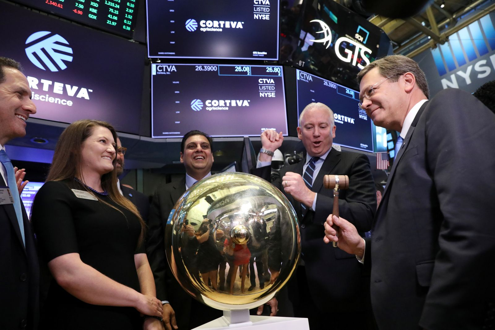 Jim Collins, CEO of Corteva Agriscience, rings a ceremonial bell at the NYSE in New York