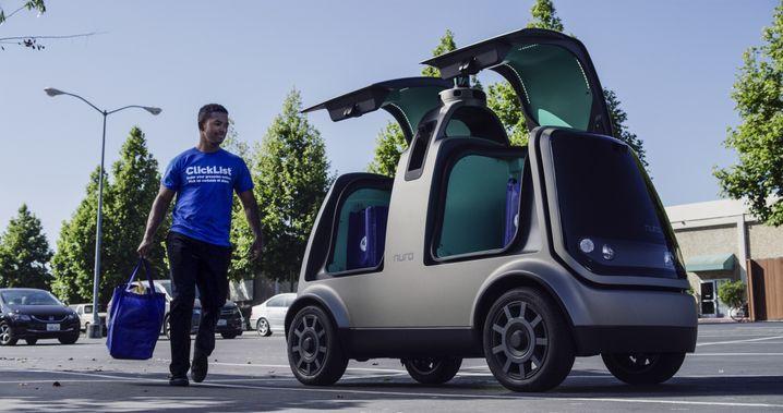 Selbstfahrendes Lieferfahrzeug von Nuro, das das Startup mit der US-Supermarktkette Kroger erprobt