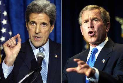 John Kerry (li) und George Bush: Der Amtsinhaber liegt in Umfragen noch vorn