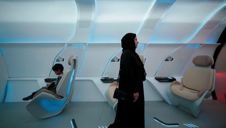 Ein Designmodell des Hyperloops in Dubai