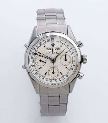 """Klassiker: Eine Rolex """"Oyster Chronographe Anti-Magnetique"""" aus dem Jahr 1962. Von dieser Uhr existieren nur wenige Exemplare in Stahl."""