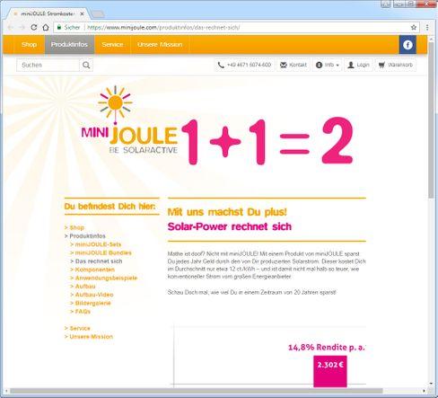 1+1=2: Werbung für Mini-Solaranlage