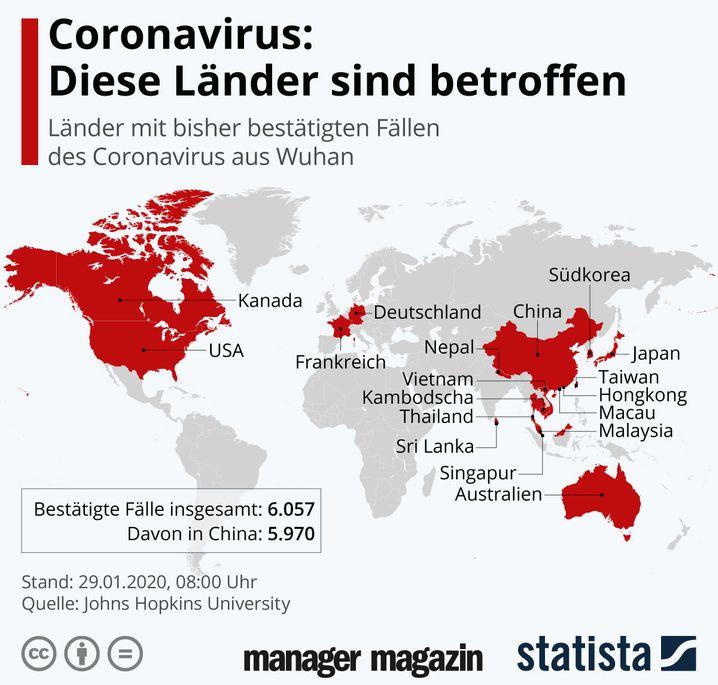 GRAFIK Coronavirus Länder / Statista