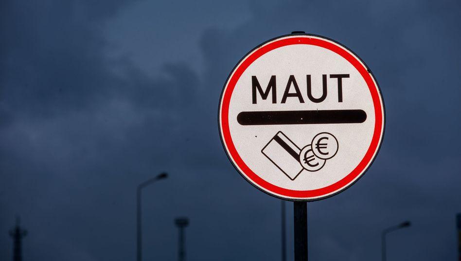 Maut-Schild in Rostock