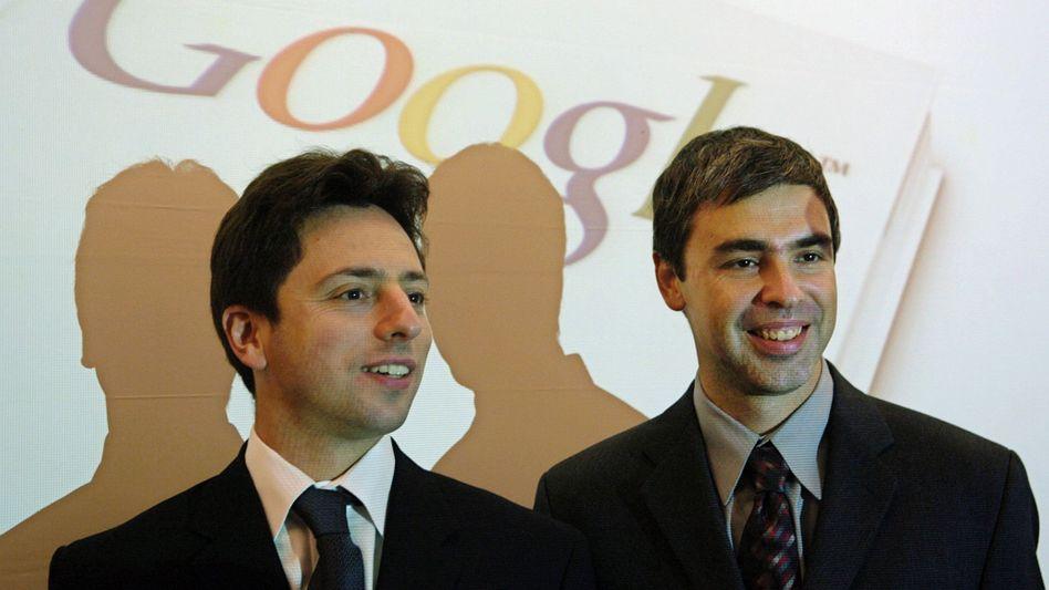 """Google-Gründer Larry Page (rechts), Sergey Brin: """"Zitat von Larry steht noch aus"""""""