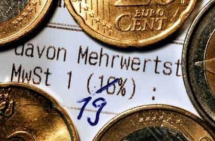 19 statt 16 Prozent: Zum 1. Januar 2007 steigt die Mehrwertsteuer