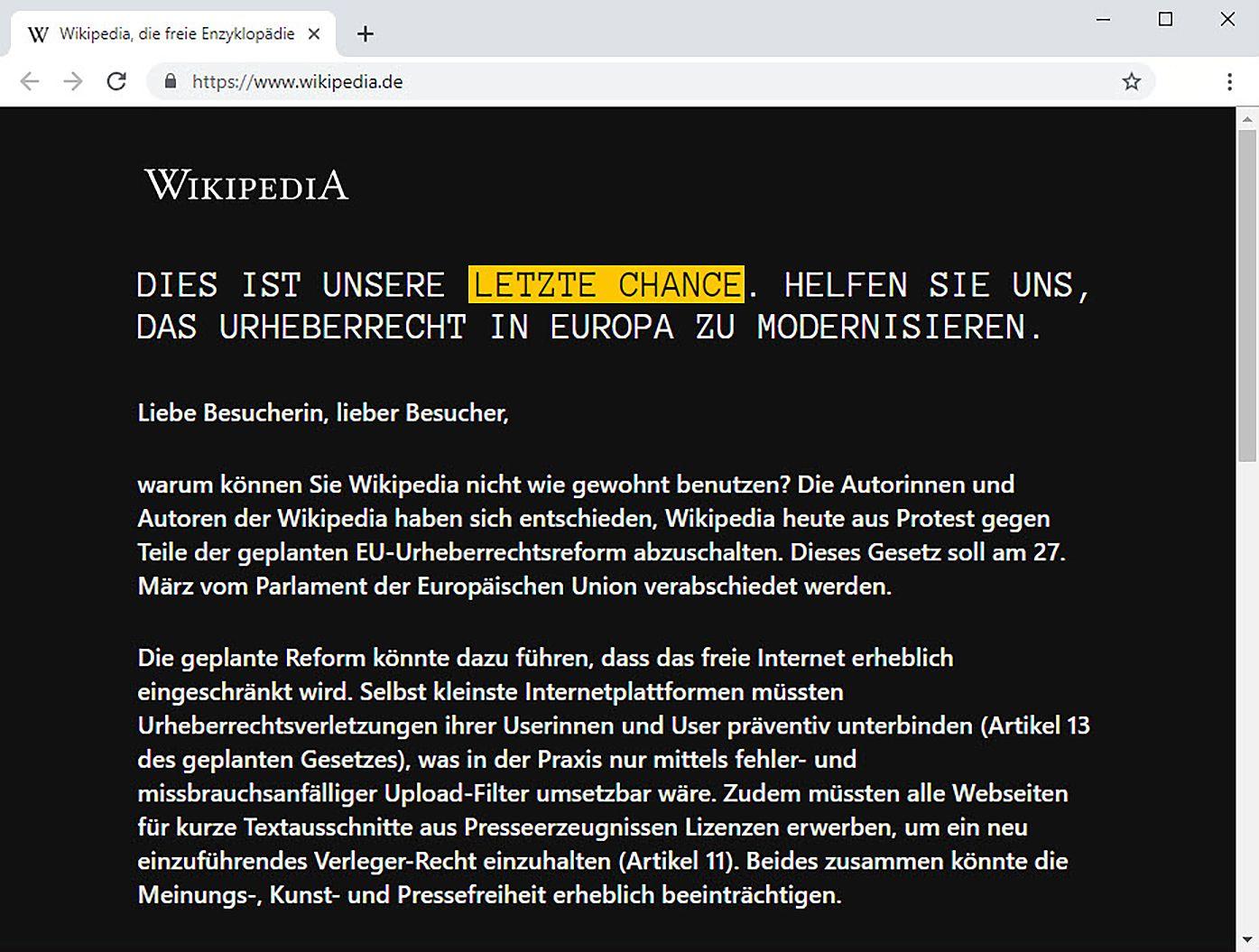 SCEENSHOT Wikipedia / Offline wg. EU-Urheberrechtsreform