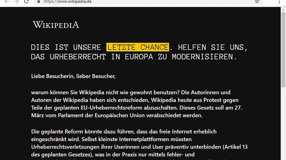 Wikipedia-Protest gegen EU-Urheberrechtsreform