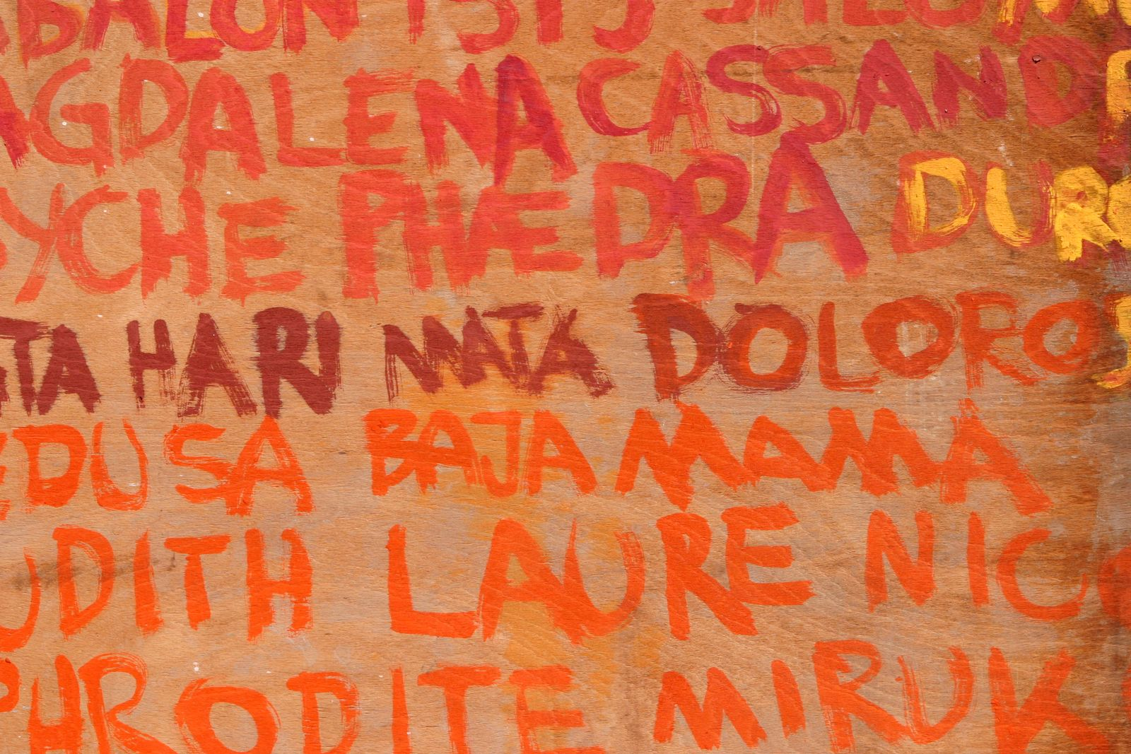 List of names on wall exterior