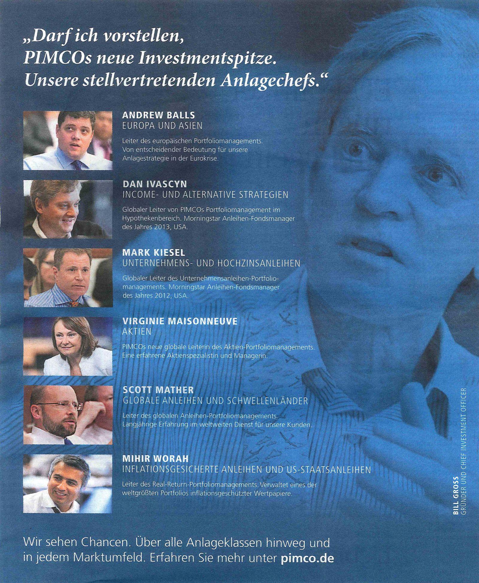 EINMALIGE VERWENDUNG PIMCO Anzeige aus dem Handelsblatt 26.02.2014