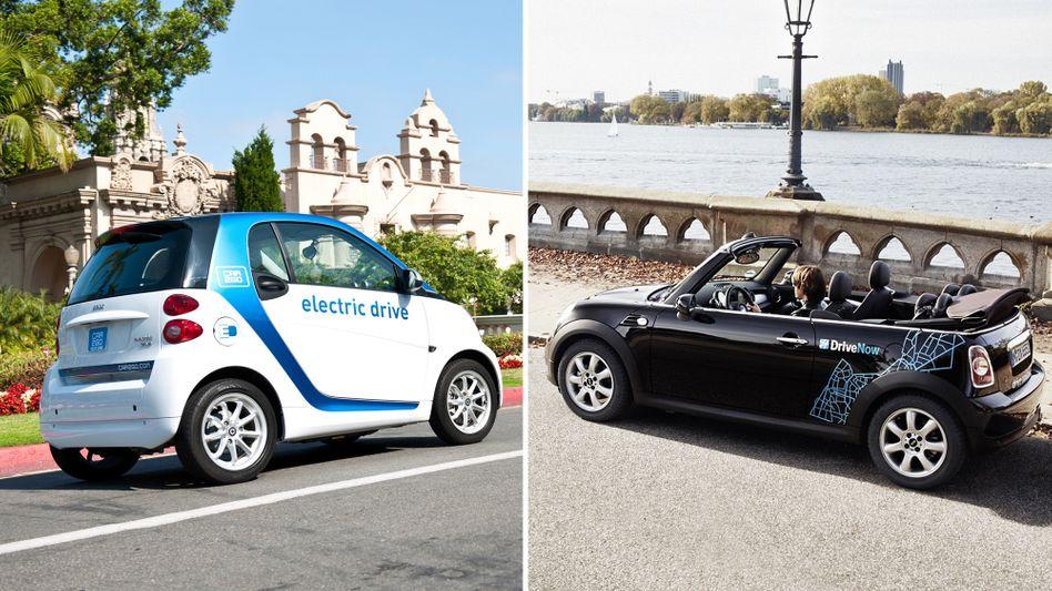 Künftig gemeinsam unter neuem Namen: Die Mobilitätsdienste von Daimler und BMW, Car2Go / DriveNow, wollen ihre Fusion noch im dritten Quartal perfekt machen