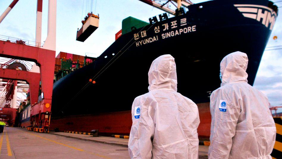 Plötzlich zu viel Nachfrage: Inspekteure am chinesischen Containerhafen Qingdao
