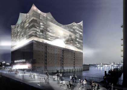 Der Bau des neuen Hamburger Wahrzeichens soll knapp 200 Millionen Euro kosten: Die Elbphilharmonie wird auf einen ehemaligen Kakaospeicher aufgesetzt