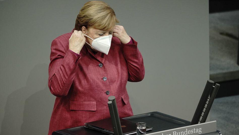 Angela Merkel vor der Regierungserklärung am Donnerstag