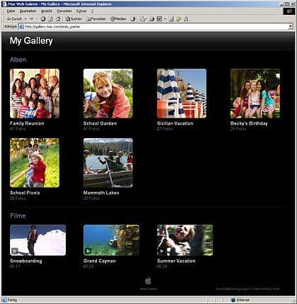 Kostenpflichtiges Webangebot .Mac: Webgalerie mit eigener Mailadresse