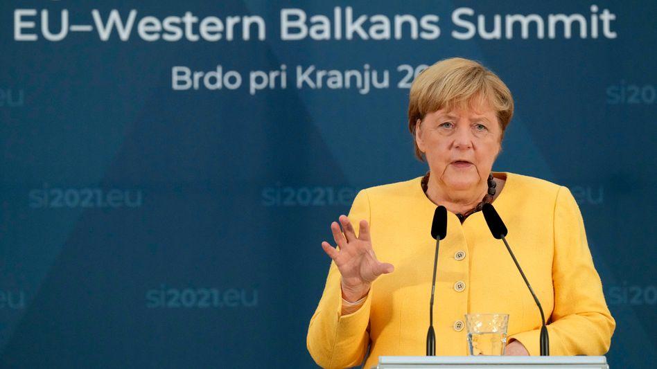 """""""Keine zu einfachen Lösungen"""": Bundeskanzlerin Angela Merkel bremst in Slowenien Vorstöße der EU-Kollegen in der Gaskrise"""