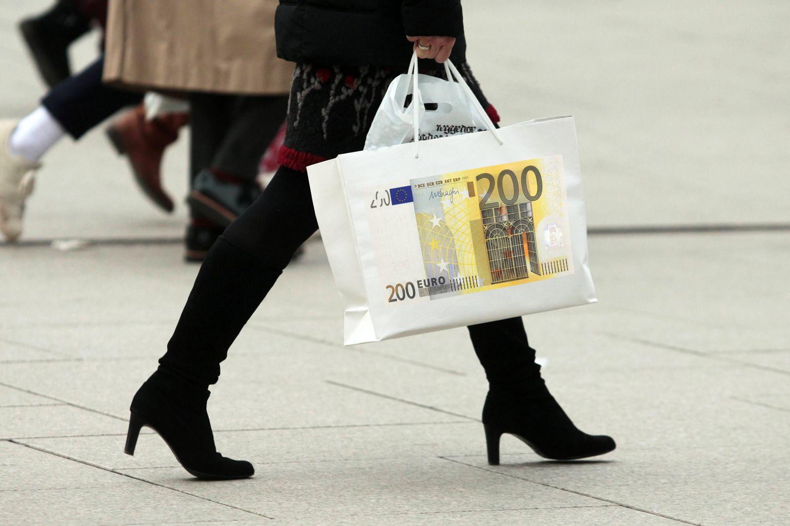 EINMALIGE VERWENDUNG Frauen / Einkaufen / shopen / Haushalt / Einkommen