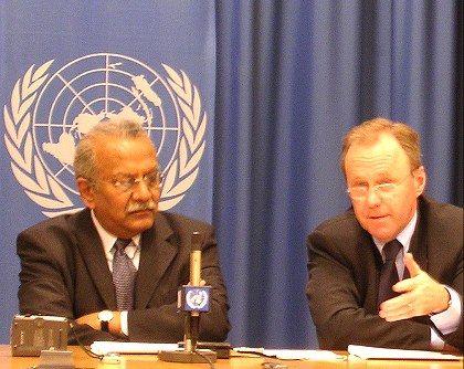 Die Diplomaten wünschen sich ein internationales Forum für die Netzpolitik: Nitin Desai und Markus Kummer vom WGIG