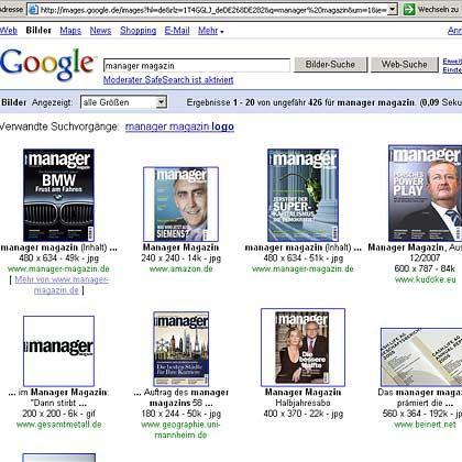 """Googles Bildersuche: Hier ein Ausschnitt der Suchergebnisse bei der Eingabe """"manager magazin"""""""