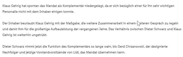 """""""Beurlaubt"""": Hausmitteilung zur Personalie aus dem Hause Schwarz"""