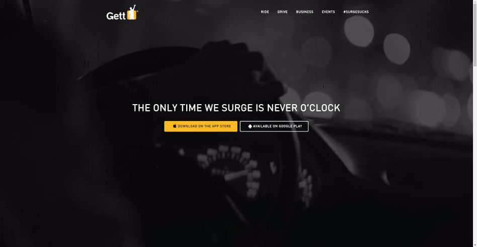 Website des Taxi-Vermittlers Gett (Get Taxi): Elegant - und mit plakativer Werbung dafür, dass die Gett-Preise nicht nach Tageszeit schwanken.