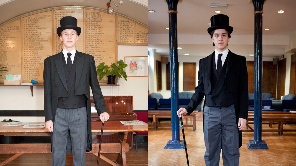 Die Traditionen der britischen Elite faszinieren den Fotografen Martin Parr. Hier porträtiert er Schüler der Londoner Privatschule Harrow. Dass sie Zylinder und personalisierten Gehstock tragen dürfen, weist sie als Vorsteher eines Internatswohngebäudes aus.