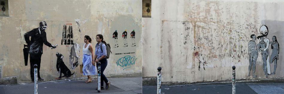 Ein weiterer gestohlener Banksy in Paris (links vor dem Diebstahl, rechts dieselbe Wand am Dienstag)