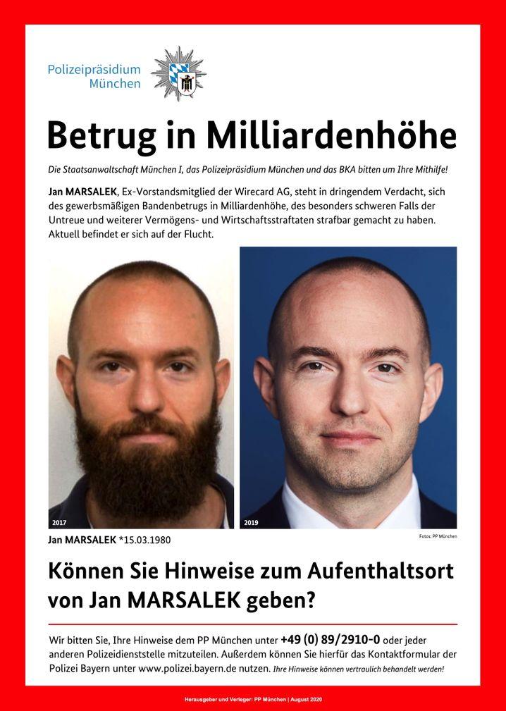 """""""Aktuell befindet er sich auf der Flucht"""": Fahndungsplakat nach Jan Marsalek."""
